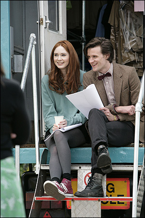 Karen Gillan and Matt Smith prepare to do some filming on the new series of Doctor Who.